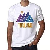 Hombre Camiseta Vintage T-Shirt Gráfico Mountain Thailand Blanco