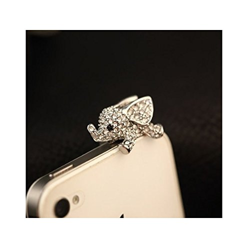Vanki Crystal Elephant Anti Dust Plug Stopper/Ear Cap/Cell Phone Charms for Smartphone, iPad with 3.5mm Earphone Jack Phones - Silver