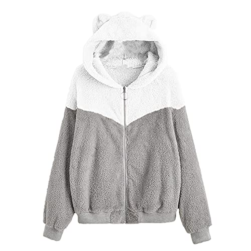 WAo Sudadera de forro polar con capucha para mujer, con cremallera, estilo casual, color sólido, con capucha, chaqueta suelta, abrigo al ras de invierno, cálido, Patchwork-white, L