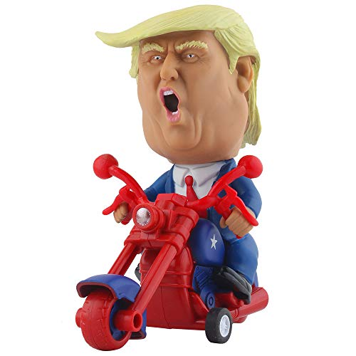 DINOBROS President Donald Trump 2020 Toy Figure Riding Motorcycle Funny Rev Up Car Novelty Gag Gift for Trump Fans