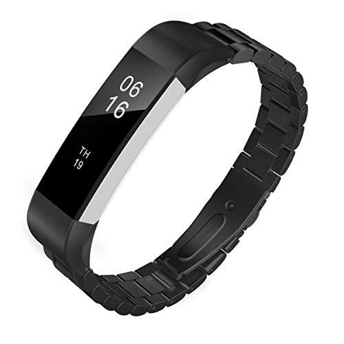 TiMOVO Cinturino Compatibile con Fitbit Alta/Alta HR, Braccialetto in Acciaio Inossidabile, Sostituibile con Doppio Bottone Pieghevole con Attrezzo - Nero