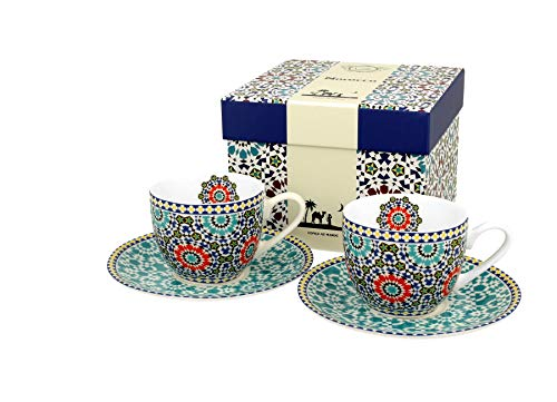 Duo Espressotassen 2er Set Marokko 90ml Espresso-Tassen Mokkatassen aus Porzellan Untertassen Unterteller Mokka-Tassen Geschenk Tasse für Kaffee Espresso Mokka Geschenkverpackung Geschenkbox