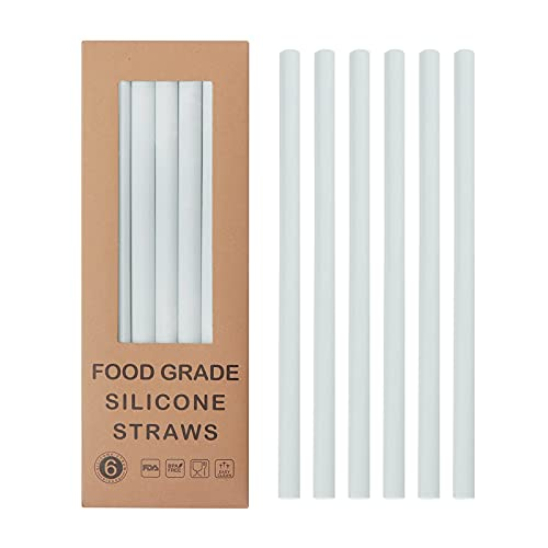 Reusable Silicone Straws Set of 6, Straight Bubble Tea straw Flexible, Snap Straw-Openable Design Easy to Clean and Dishwasher Safe, Eco-Friendly