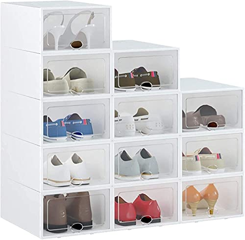 12 pcs Cajas de Zapatos Plástico Transparente Apilable,Cajas de Almacenamiento de Zapatos con Tapa 33x23x14cm,Contenedores Organizadores de Zapatos para Mujeres/Hombres