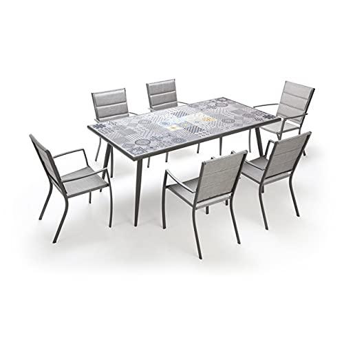 Set tavolo da giardino con piano in ceramica e 6 sedie arredamento per esterni set tavolo e sedie da...