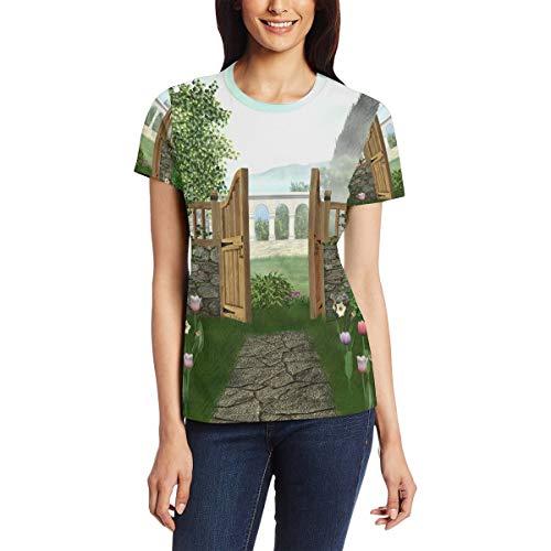 XiangHeFu Camiseta para Mujer Fence Yard Garden Custom Short