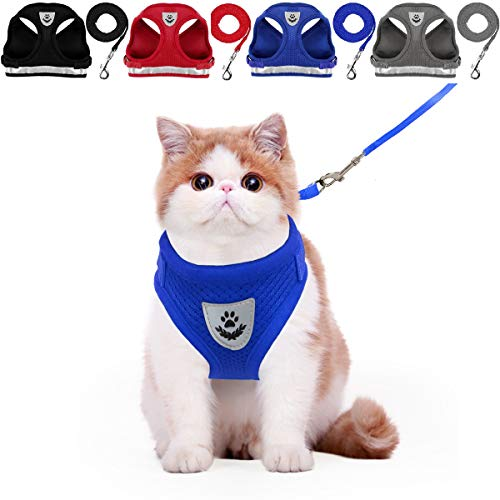 YujueShop Cat Harness and Leash Pet Vest Small Dog Harness Escape Proof Reflective Re-Adjustable Walking Soft Mesh with Pet Leash for Cats Puppies Pets (XS 21.8-30cm/8.6-11.8in, Blue)