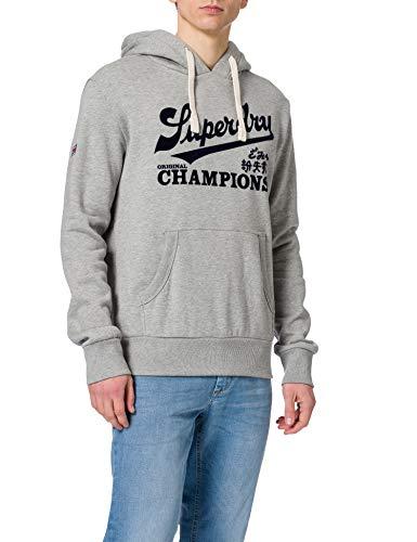Superdry Mens Collegiate Graphic Overhead Hooded Sweatshirt, Grey Marl, L