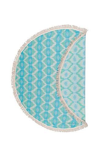 Begonville 'Rundes Hamamtuch Miami | 150 cm Durchmesser, hochwertige Qualität | attraktive Farben und unterschiedliche Muster (Türkis)