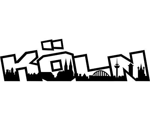 Skyline4u Autoaufkleber Köln Aufkleber Schriftzug Skyline in 8 Größen und 25 Farben (15x4,2cm silbermetalleffekt)