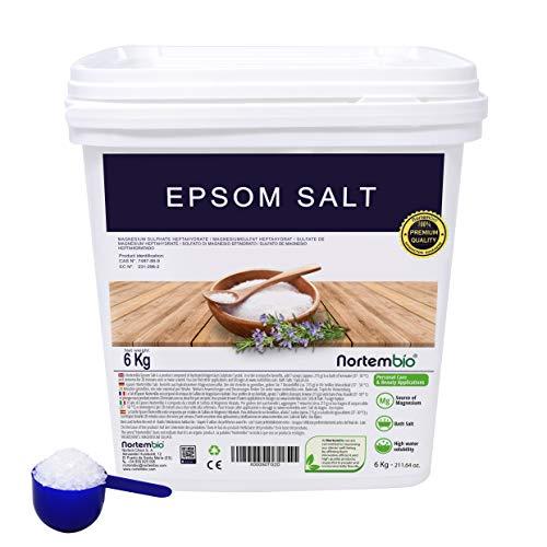 NortemBio Sel d'Epsom 6 Kg. Source concentrée de Magnésium, Sel 100% Naturel. Bain et Soins Personnels. E-Book Inclus.