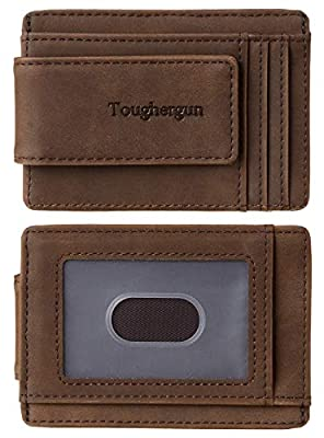 NapaWalli Genuine Leather Magnetic Front Pocket Money Clip Wallet RFID Blocking(Crazy Horse Coffee)