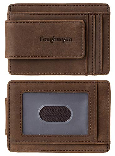 Toughergun Genuine Leather Magnetic Front Pocket Money Clip Wallet RFID Blocking(Coffee)