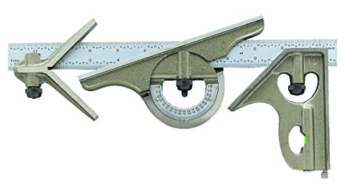 General Tools MG-S278-4R Combination Set with Square and Center Head, Reversible Protractor Head