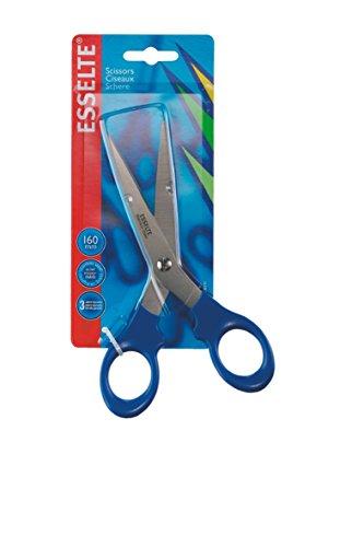 Esselte 82116 - Tijeras premium, Para diestros y zurdos, Mango ergonómico, Largo 16 cm, Azul