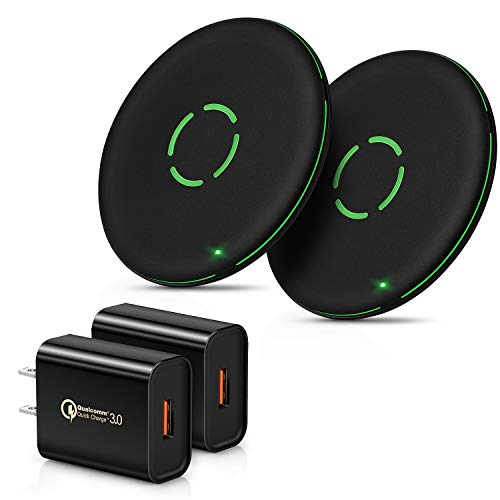 Wireless Charger with Quick Charge 3.0 USB Wall Charger, iSeekerKit 18W QC 3.0 USB Power Adapter, 10W Max Fast Qi Wireless Charging Pad Compatible for iPhone 11/11Pro/X/XR/8, Galaxy S10/S10 [2-Pack]