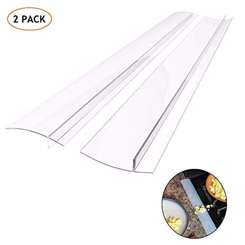 HELESIN Silicone Gap Cover, (2 Pack) Silicone Gap Stopper Kitchen Stove Counter Gap Covers - 21inches Flexible Stove Space Fillers, Food Grade,Semi Clear