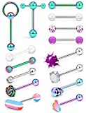 Prjndjw 14G Surgical Steel Tongue Rings for Women Men Teaser Double Barbell with Slave Ring Skull/Flower/Silicone Soft Spike Ball/CZ/Door Knocker/Pill Tongue Ring Piercing Jewelry 5/8inch Rainbow
