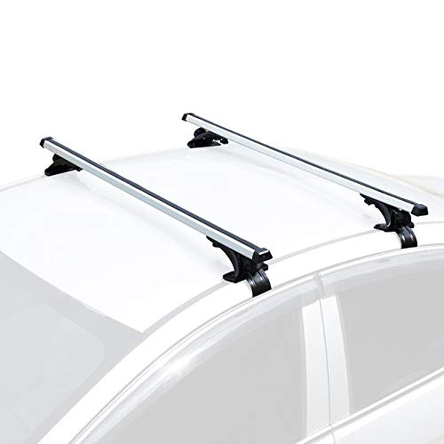 """AUXMART Universal Roof Rack Adjustable 48"""" Cross Bars Aluminum Cargo Carrier Rooftop Crossbars Fit for Most Vehicle Wagon Car Without Roof Side Rail (1 Pair), 150LBS /68KG Capacity"""