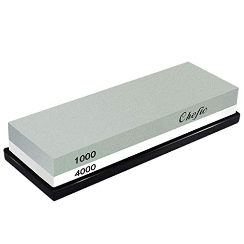 DOSNTO BearMoo Sharpening Stone,2-IN-1 Whetstone,1000/4000 Grit Combination Knife Sharpener- Rubber Holder Included