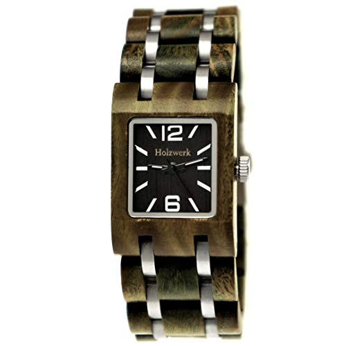 Handgemaakt Holzwerk Germany® designer dameshorloge eco natuurlijke houten klok groen zwart armbandhorloge analoog klassiek kwartshorloge