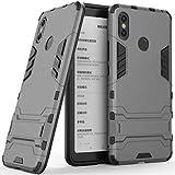 Funda para Xiaomi Mi MAX 3 (6,9 Pulgadas) 2 en 1 Híbrida Rugged Armor Case Choque Absorción Protección Dual Layer Bumper Carcasa con Pata de Cabra (Gris)