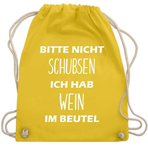 Shirtracer Festival Turnbeutel - Bitte nicht schubsen ich hab Wein im Beutel - Unisize - Gelb - weingeschenke - WM110 - Turnbeutel und Stoffbeutel aus Baumwolle