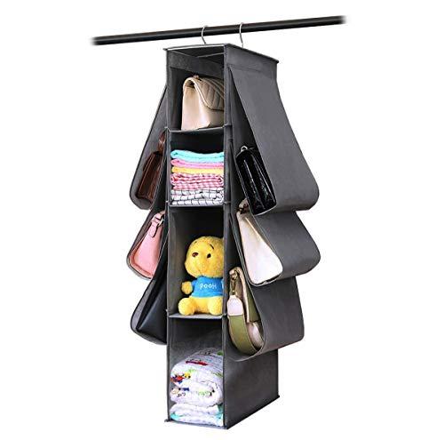 WOWCASE Hanging Purse Handbag Organizer Wardrobe Closet Organizer Nonwoven 10 Pockets Hanging Closet Storage Bag (Grey)