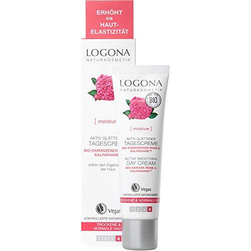 LOGONA Naturkosmetik Aktiv glättende Tagescreme, Mit Rosenwasser, Anti Aging-Gesichtscreme,...