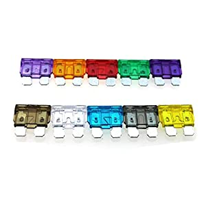Ambuker 100 pcs Assorted Auto Car Trunk Standard Blade Fuse 2,3,5,7.5,10,15,20,25,30,35Amp SUV Automotive Replacement Fuses kits with fuse puller