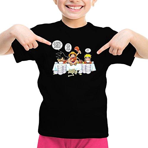 T-Shirt Enfant Fille Noir Parodie DBZ, One Piece et Naruto - Sangoku, Naruto et Luffy - La Recette d'un Bon Manga : (T-Shirt Enfant de qualité Premium de Taille 3-4 Ans - imprimé en France)
