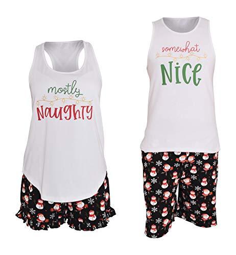 Unique Baby UB Womens His Hers Naughty Nice Matching Christmas Pajamas (Women XL, Santa)
