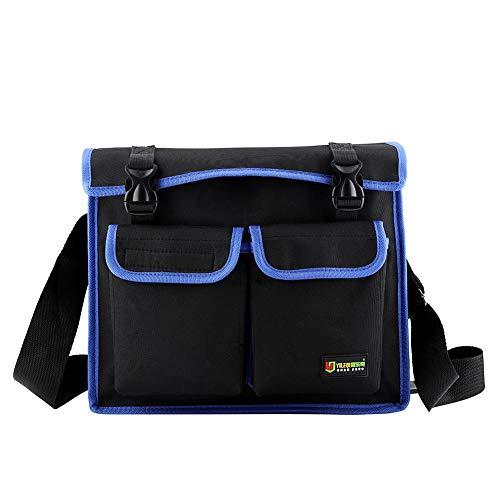 Zerodis Werkzeuge Umhängetasche Verschleißfeste Vertikale Taschen Verdicktes Oxford Tuch Aufbewahrungs Werkzeugtasche mit verstellbarem Schulter und Griffgurt (Blau)