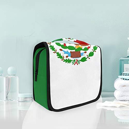 Montoj - Bolsa de aseo colgante grande con bandera de México para...
