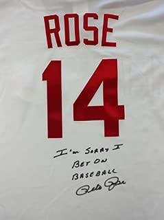 Pete Rose Autographed Cincinatti Reds White Majestic Jersey
