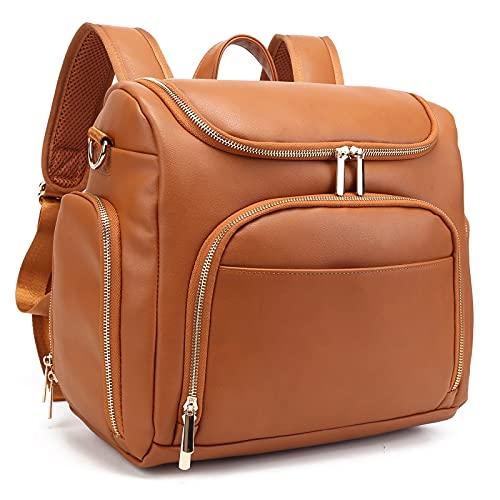 Diaper Bag Backpack, 7-in-1 Beaulyn Leather Travel Back Pack Large Capacity Organizer (Dark Brown)