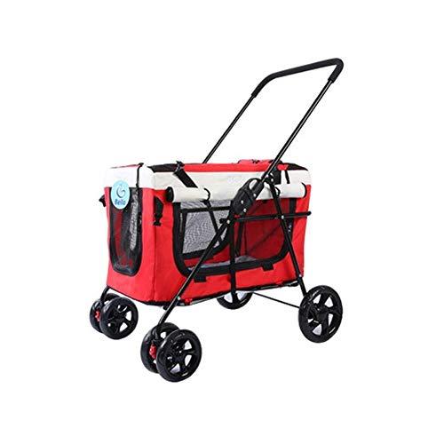 ZUQIEE Cochecito del Animal doméstico Grande de Cuatro Ruedas 3 en 1 Suave extraíble Pet Travel Case Cara Y 20 KG (Color : Red)