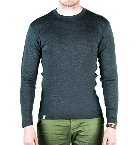Alpin Loacker Merino Shirt Langarm | 100% Merinowolle Sweatshirt Herren | wärmeregulierendes Langarmshirt für Männer Sport & Freizeit | Grau Größe L