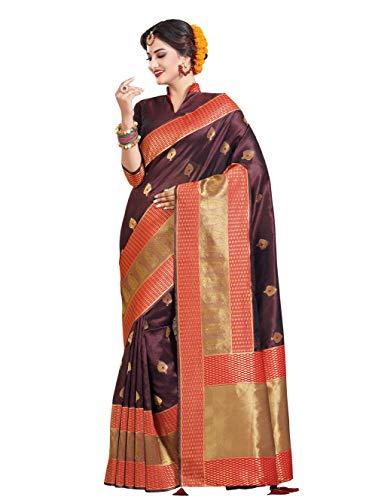 HAOK Sarees For Women's Banarasi Raw Silk Woven Sari | Regalo indio de boda ropa tradicional | Sari y blusa no cosida…