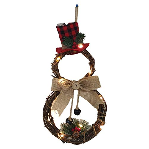 Angmile Christmas Rattan Bowknot Wreath with LED Light Decor Xmas Front Door Window Christmas Tree Decoration Home Hanging Ornaments(Round/Triangle)