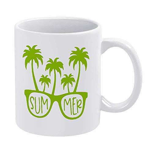 Taza de café divertida Gafas de sol de verano Diseño de árbol de coco tropical 11 oz y 15 oz Taza de café con refranes divertidos Taza de café Taza especial Taza de trabajo Taza de oficina Taza de caf