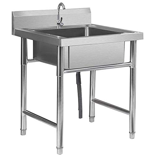 WenFei shop Commercial Stainless Steel Sinks,Floor-mounted Portable Sink Pool,Free Standing Utility Sink for Garage,Restaurant,Kitchen,Laundry Room,Outdoor,50x50x75cm(19.7x19.7x29.5in)