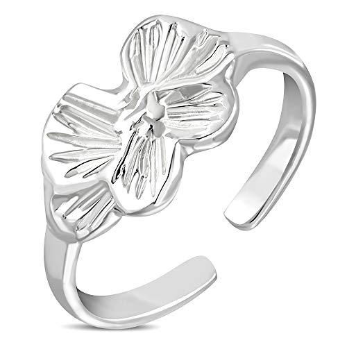 Anillo de falange de acero inoxidable – Flor plateada