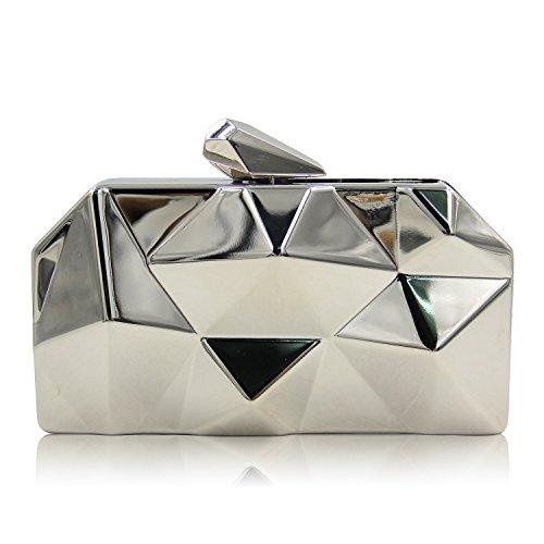 Flada mujeres bolsos simple de metal caja de hierro en forma de diamante de plata noche Embragues Bolsas
