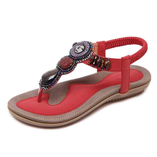 WggWy Sandalias De Viaje De Verano para Mujer, Zapatos Planos Retro De Playa De Moda Sandalias De Playa De Talla Grande Banda Elástica Sandalias De Espiga De Confort con Cuentas,Rojo,35