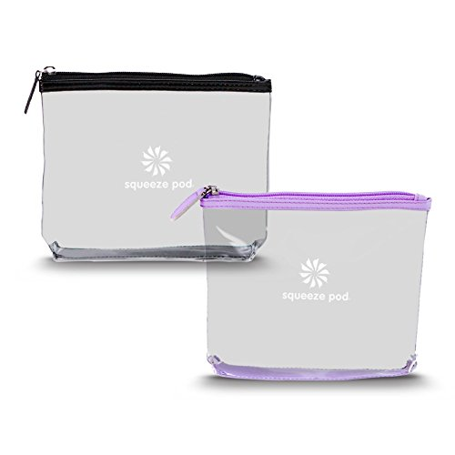 Squeeze Pod TSA Approved Clear Toiletry Bag, Small Quart Size Carry On Bag for Travel Size Toiletries & Cosmetics - Durable PVC Plastic with Heavy Duty Zipper, Black & Purple Trim, Pack of 2 (CTBPB)