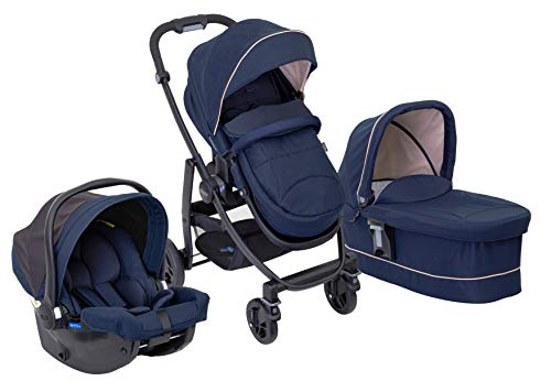 Graco Evo Trio Pushchair, Carrycot and Car Seat Travel System with Apron and Raincover, Eclipse