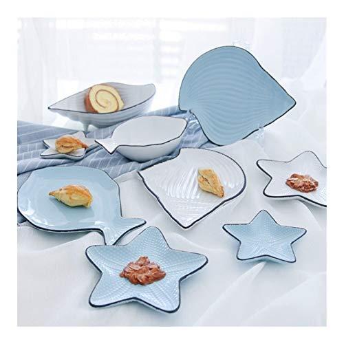 KXLB Kxlbhjxb Océano Desayuno Placa de cerámica Vajilla Pescado Plato Ballena Forma de Concha de mar Plato de Arroz Blanco Azul de Porcelana Vajillas Platillo (Color : Blue Fish Bowl)