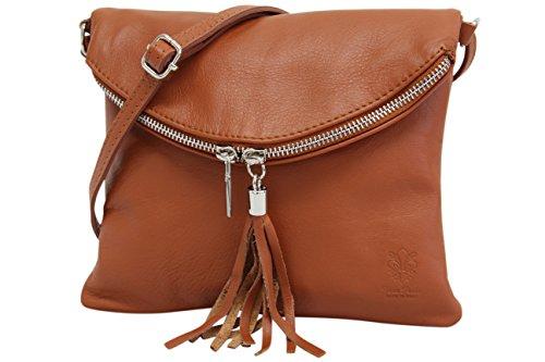 AMBRA Moda Italienische Ledertasche Schultertasche Crossover Umhängetasche Nappaleder Damen Kleine Tasche NL610 (Cognacbraun)
