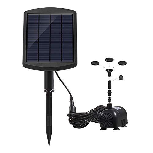 ALLOMN Fuente Solar, Bomba de Agua de Energía Solar Fuente Sumergible Solar Kit de Bomba de Agua de Estanque 60 cm de Altura, 4 Tipos de Cabezales de Rociadores, Larga Vida útil 1.8W